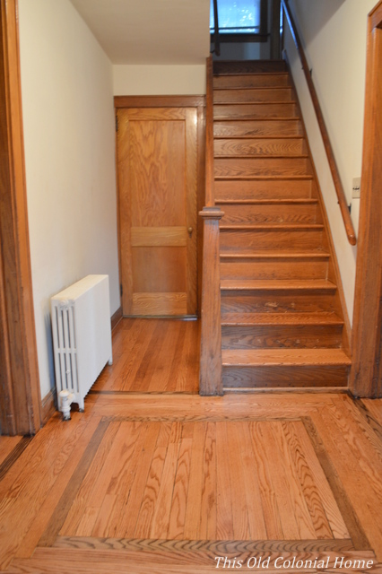 Entryway floors refinished Minwax golden oak
