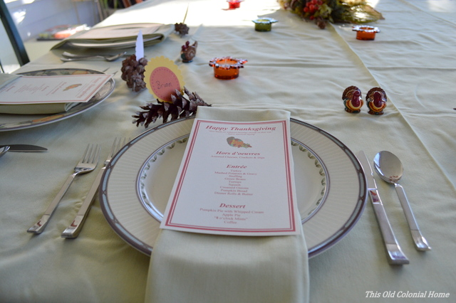 Thanksgiving place setting with menu
