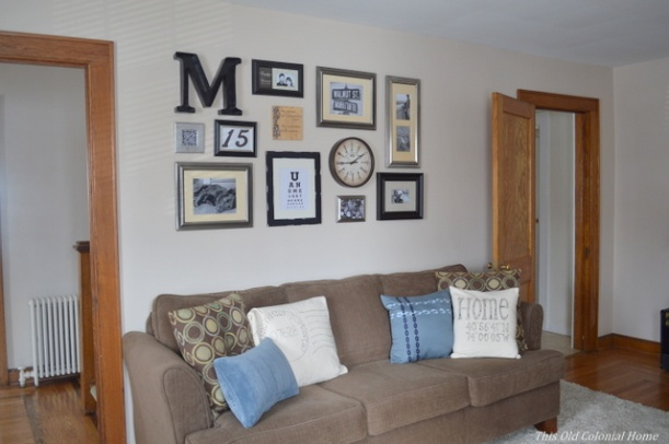 Complete gallery wall in living room