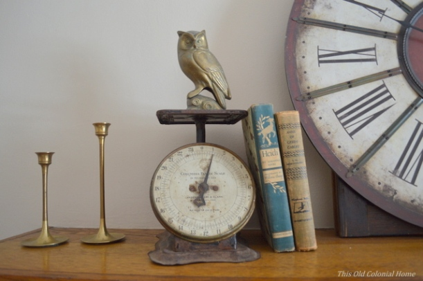 Vintage scale and old hard-covered books