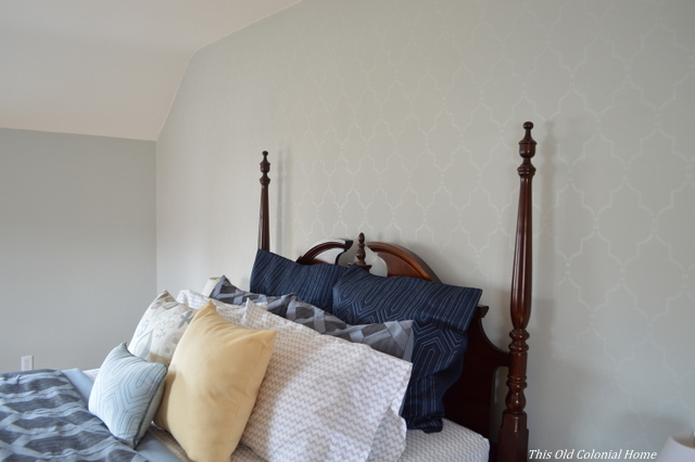 Cutting Edge Stencil accent wall in master bedroom