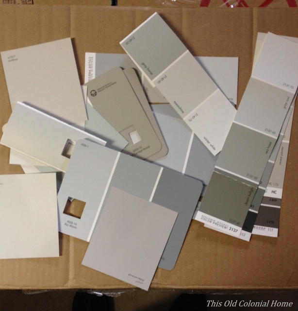 Pile of gray paint card samples