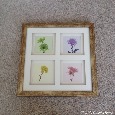 Shadow box picture frame with 4 square matte