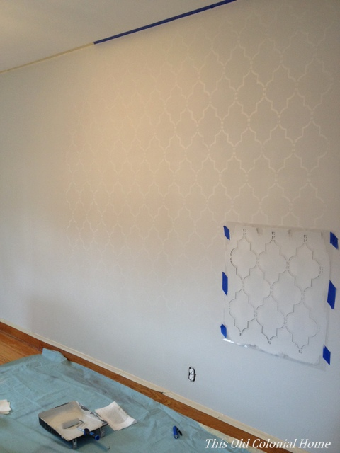 Stencil wall project in progress