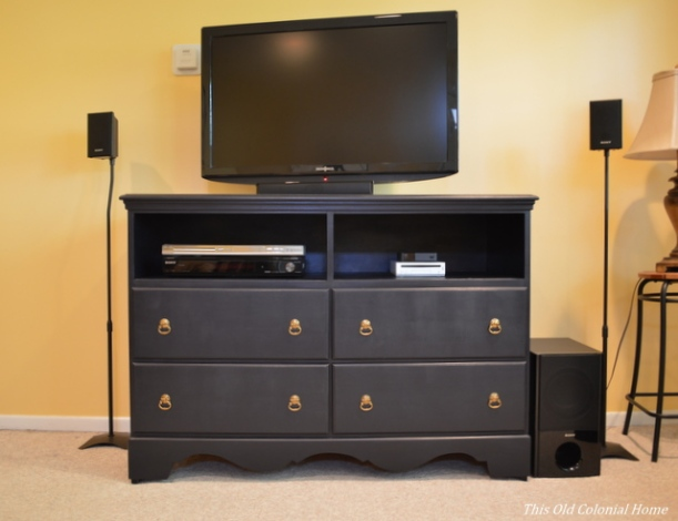 Dresser turned TV stand for family room