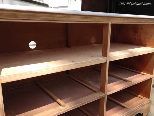 Plywood inside dresser for sturdier shelf