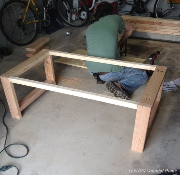 Coffee table base assembled