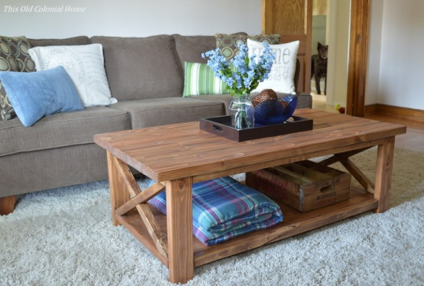 Rustic coffee table with blue and green accents