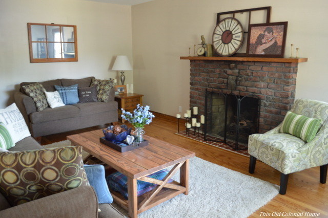 Rustic living room with handmade coffee table