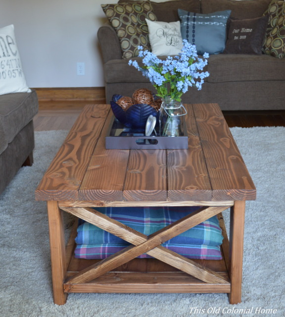 Side view of coffee table with X