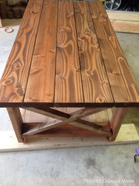 Coffee table completely stained with 3 coats