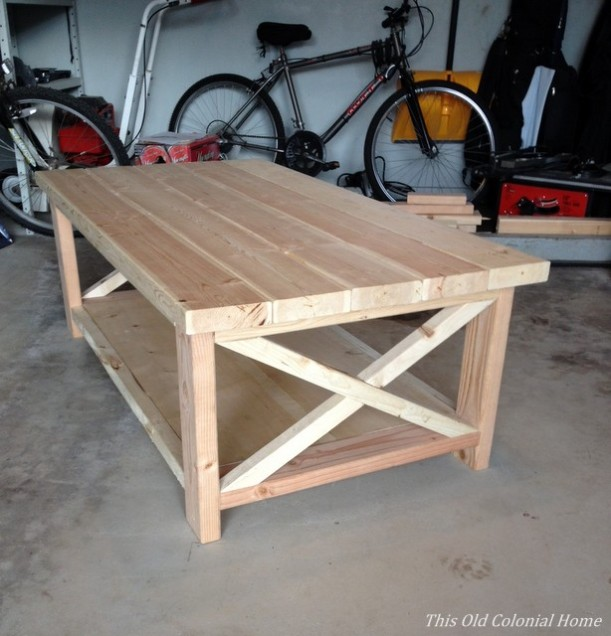 DIY coffee table assembled