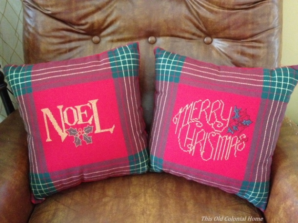 red and green christmas throw pillows