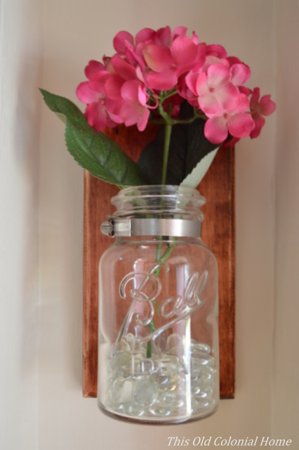 Ball jar with hydrangeas and vase filler