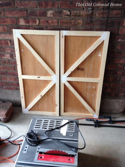 Refacing cabinet doors in progress
