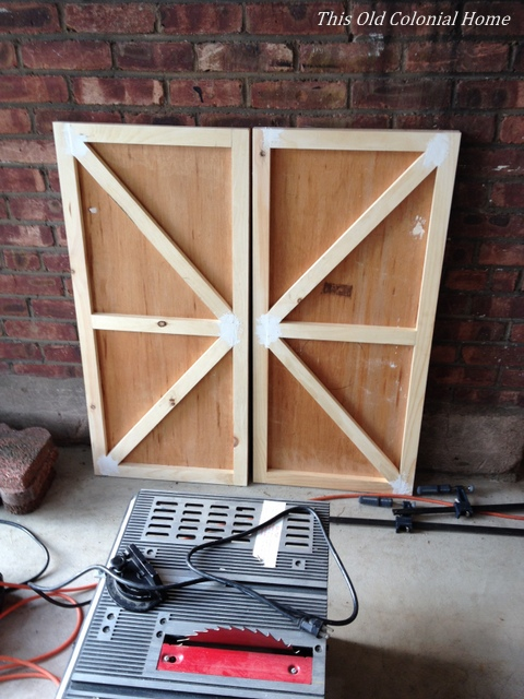Refacing cabinet doors in progress