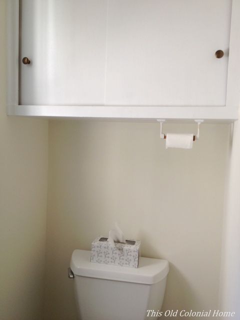 cabinet above toilet with paper holder