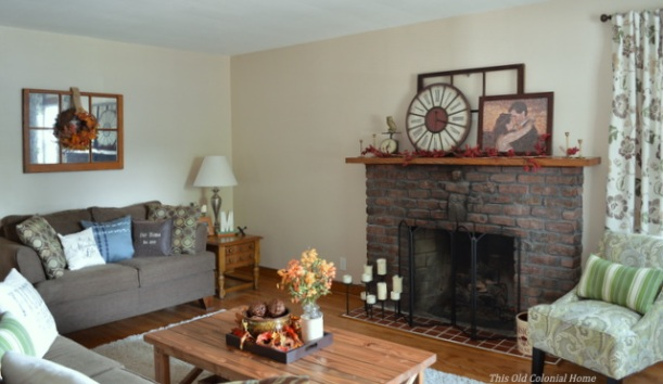 Fall mantel and wreath and coffee table