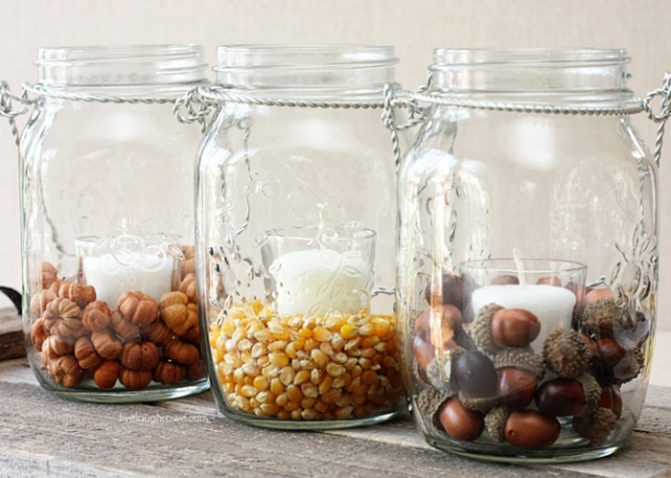 DIY Fall Decor with Hanging Mason Jars