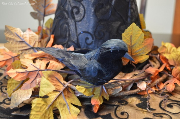 Crow and leaves centerpiece