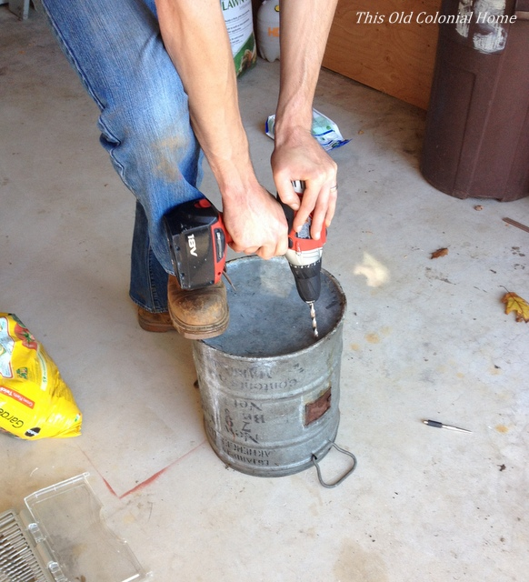 Drill holes in bucket for planter