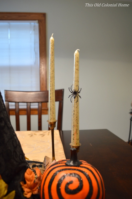 Halloween candles with spider