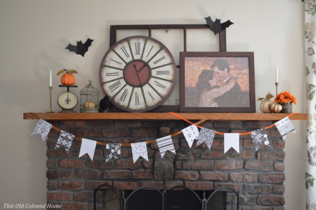 Orange black and white mantel