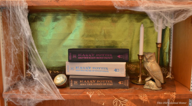 Harry Potter books as Halloween decor