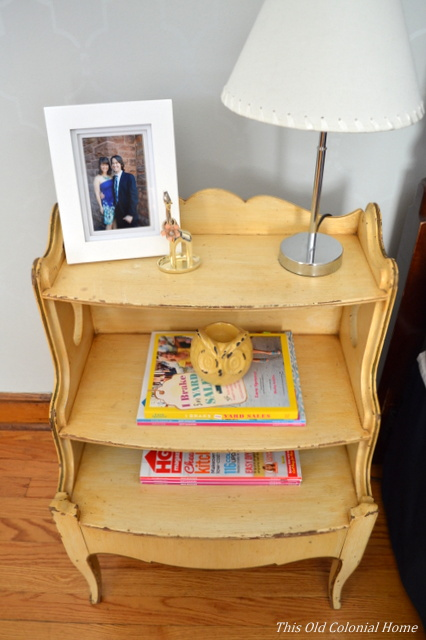 Nightstand with tiered shelves