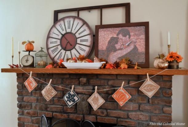 DIY Thanksgiving banner for mantel