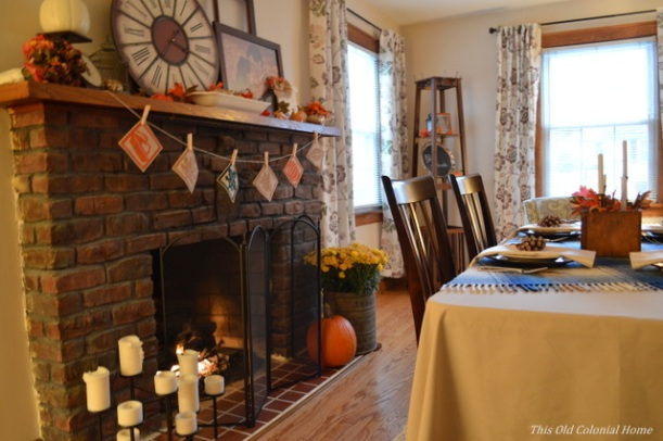 Rustic Thanksgiving mantel and table