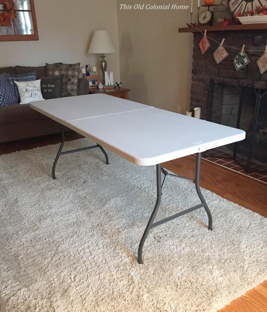 Makeshift folding table for Thanksgiving
