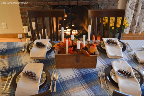 Plaid and rustic Thanksgiving tablescape