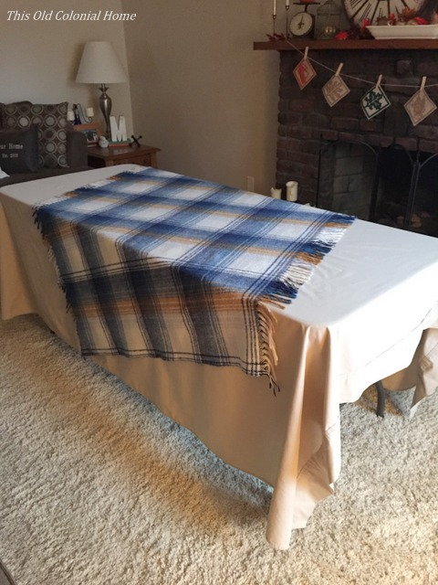 Plaid throw blanket as part of tablecloth