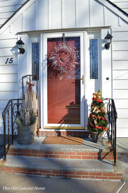 Front door decked out for Christmas