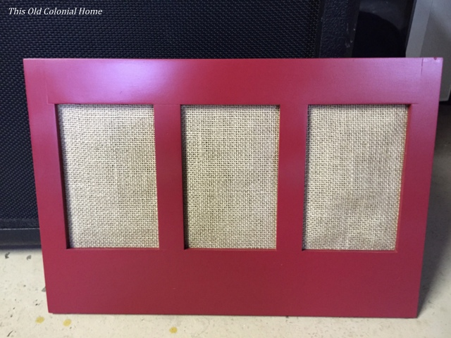 Red frame with burlap backing