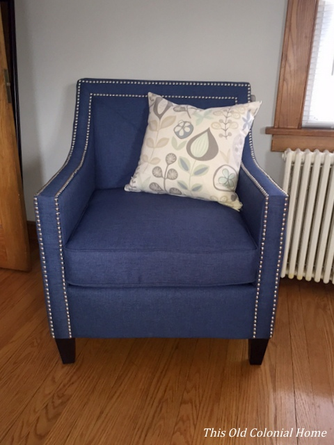 Navy chair with silver nailhead trim