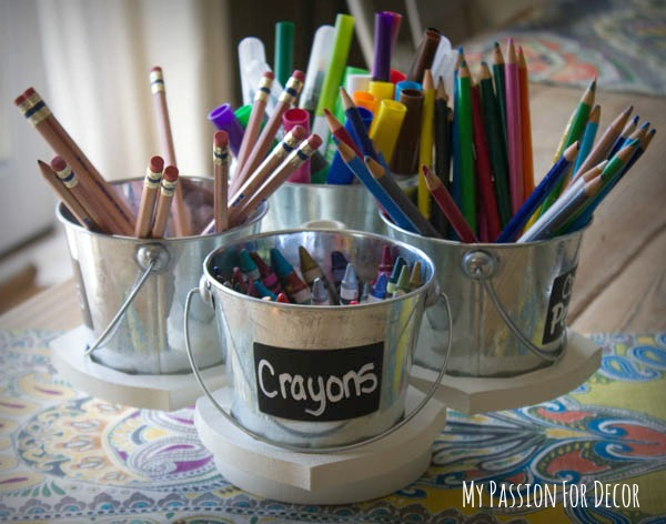 DIY craft caddy using small buckets