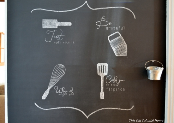 Bucket chalk holder on chalkboard