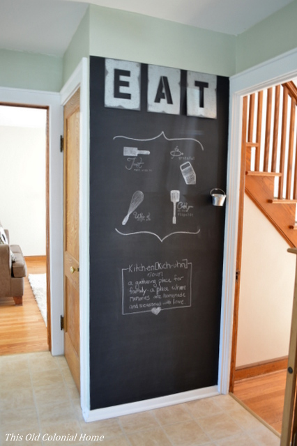 DIY kitchen chalkboard wall