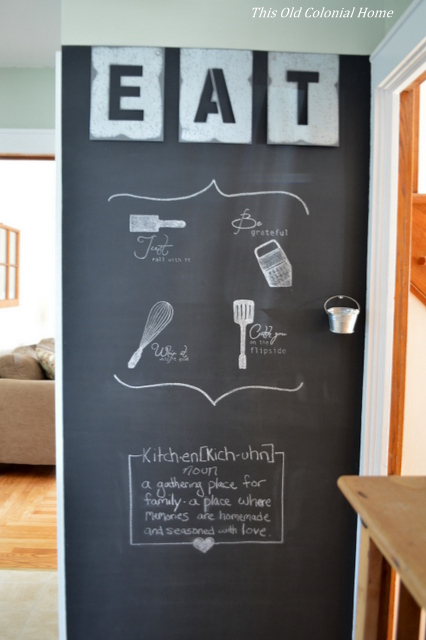 Industrial kitchen chalkboard wall