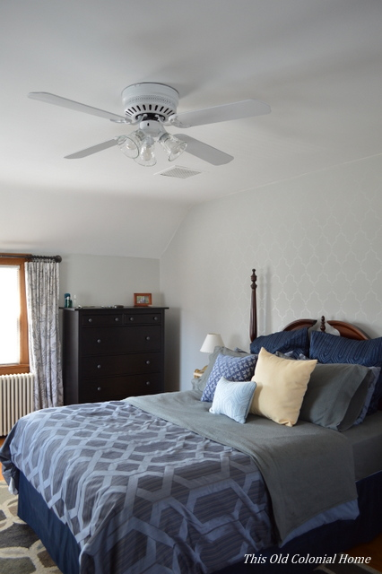 Painted ceiling fan in master bedroom