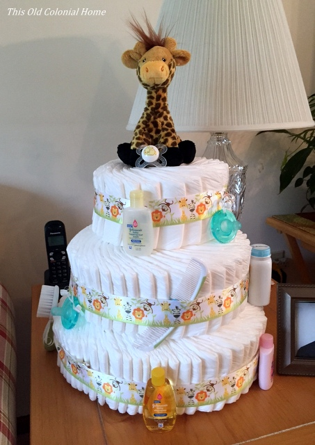 DIY diaper cake for baby shower