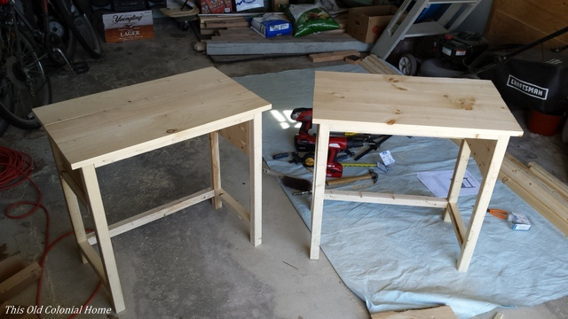 DIY wood nightstand build progress