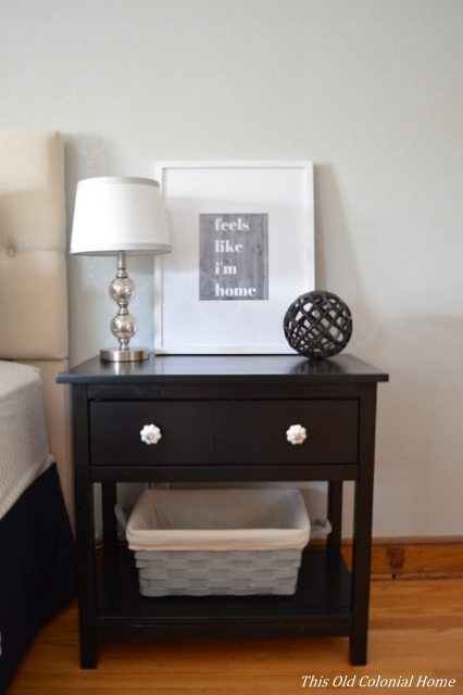 DIY wood nightstand stained ebony