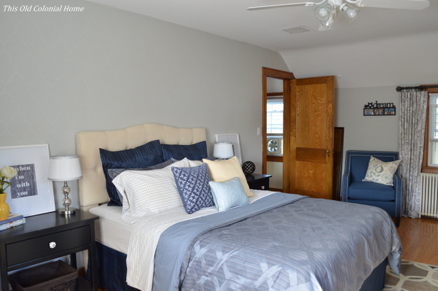 Gray blue master bedroom reveal