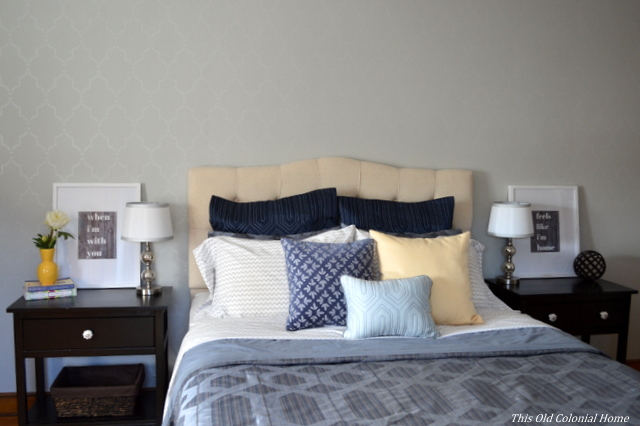 Tufted headboard and bed with DIY nightstands