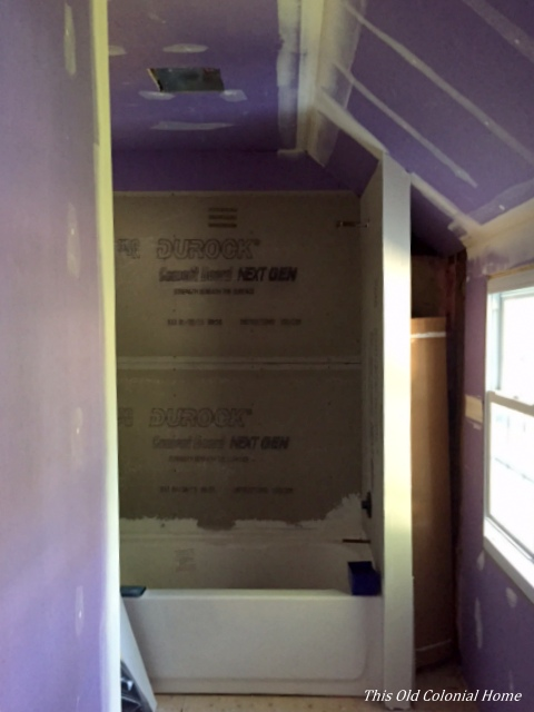 Bathroom renovation drywall