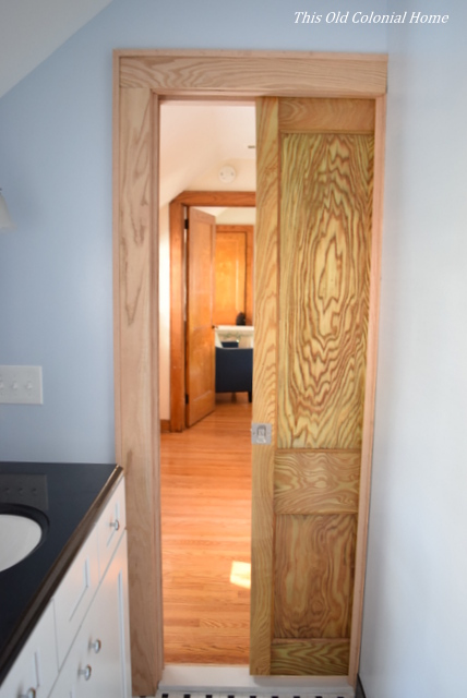 Pocket door space saver in small bathroom