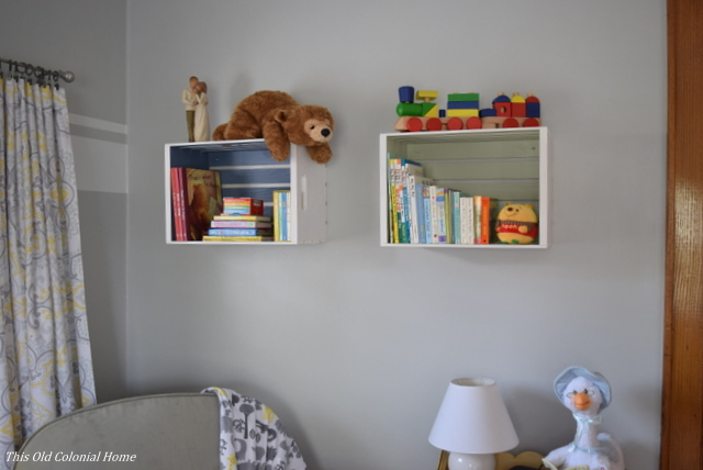 DIY wood crate bookshelves for nursery